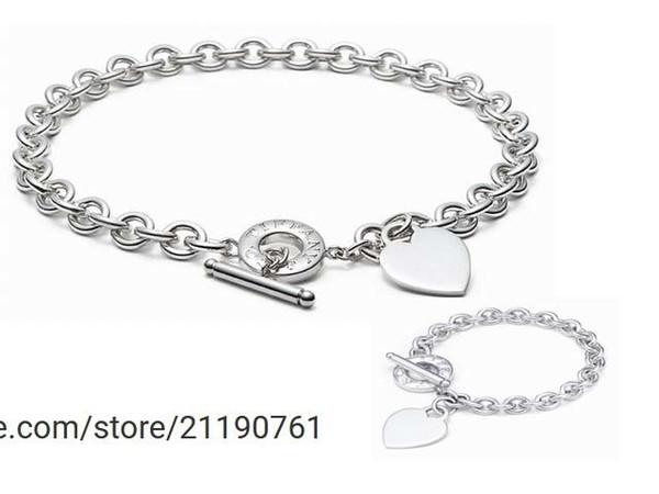 liruoxi1314 High 925 Silver bracelet necklace Silverware Metal Heart-shaped necklace Jewelery Set