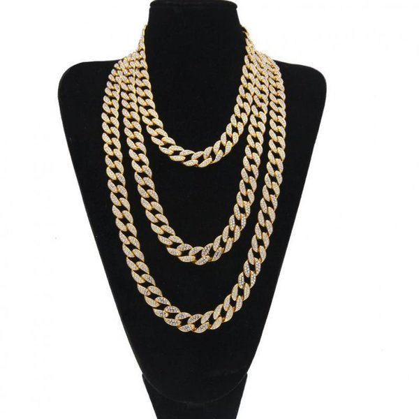 Iced Out Bling Rhinestone Golden Silver Finish Miami Cuban Link Chain Necklace Men's Hip Hop Necklace Jewelry 16/18/20/24 Inch T190626