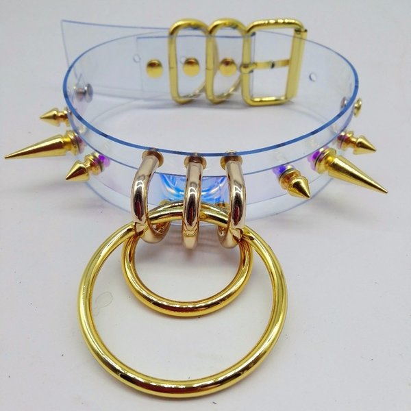 Fashion Handmade Clear Laser Holographic Punk Choker Necklace Sexy Harajuku Collar Rivet Torques Metal Spikes Bullet O-round GMX190711