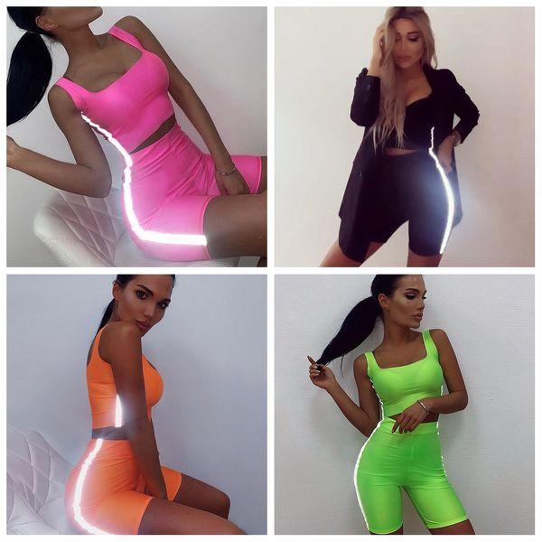 Женщины светоотражающие полосы одежды спортивный костюм футболка комплект спортивный костюм майка укороченная туго короткая 2 шт. Стройная сексуальная беговая спортивная одежда AAA2109