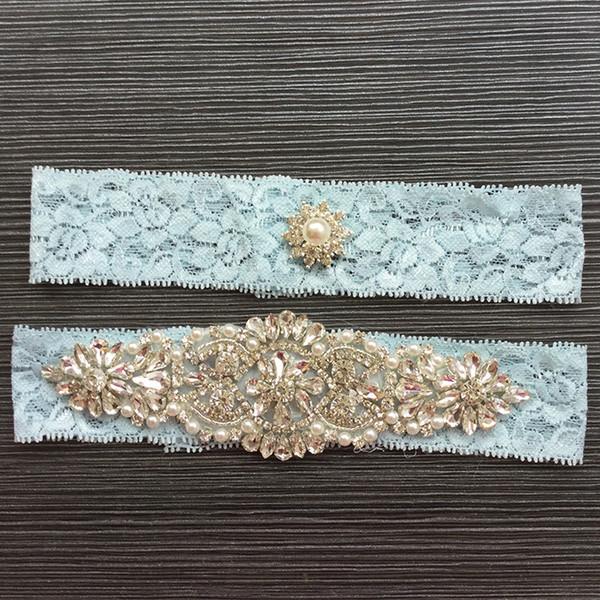 1 Paar reizvolle Braut Garters Lace Strass Perlen Jahrgang Handgemachte Hochzeit Garter Set Neu mit Braut Leg Strumpfgürtel Perlen Plus Size