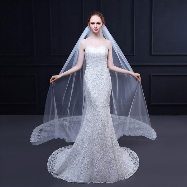 2019 echte Fotos Elfenbein Brautschleier 3m lange Kamm Spitze Luxus Kathedrale Brautschleier Applikationen Hochzeit Zubehör Veu De Noiva