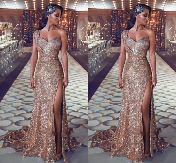 New Sparkly Sequined Prom Dresses Sexy High Slit One Shoulder Glitter Sequins Sheath Formal Evening Gowns Sweep Train Plus Size Pageant Wear