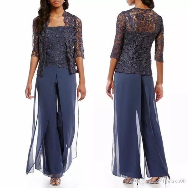 Chic Mavi Dantel Anne Gelin Elbiseler Pantolon Ceket Ayak Bileği Uzunluğu Düğün Konuk Elbise Ile Kıyafet Suits