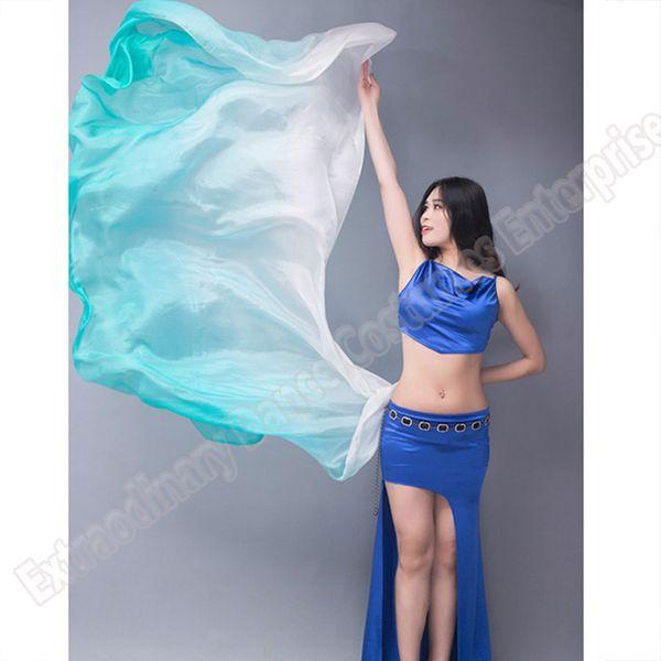 New Belly Dance Silk Veils Stage Performance Hand Thrown Scarf Shawl Veil Silk Gradient Rainbow 200cm 250cm 270cm Kids Adults