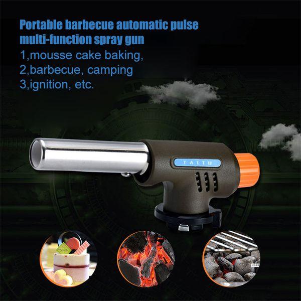 Gas Torch Flamethrower Butane Burner Automatic Ignition Baking Welding BBQ Camping Outdoor Flame Gun Kitchen Lighters