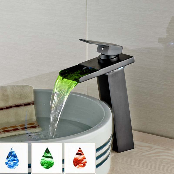 Countertop Waterfall LED Light Basin Sink Faucet Single Lever Square Brass Bathroom Wash Basin Mixer Taps