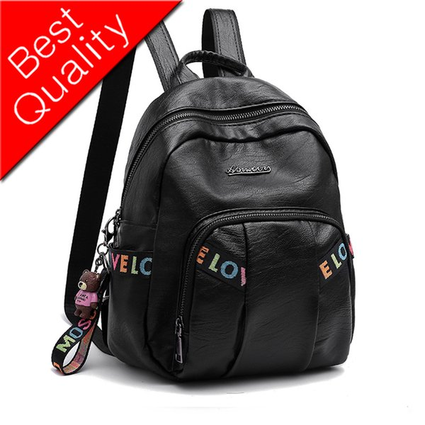 Women Backpack Leather Bag Travel Backpack Luxury Designer Women Bags Headphone Jack Bear Pendant Letter Casual Famous Brand