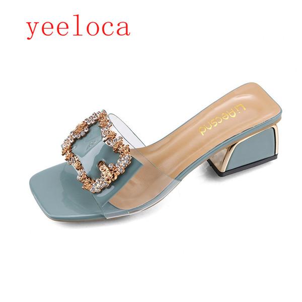 Mujer Moda Tacones Altos Zapatilla Sexy Peep Toe Hollow Out Cristales Zapatos de Fiesta Mujer Verano Slip on Beach Flip Flops yeeloca