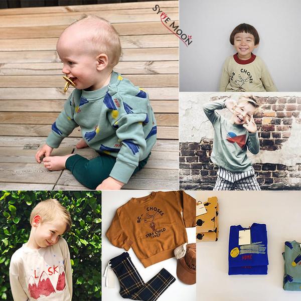 Yeni Sonbahar Kış 2019 Bobo C Marka Çocuk Kazak Erkek Kız Moda Baskı Tişörtü Bebek Çocuk Pamuklu Giysiler Tops