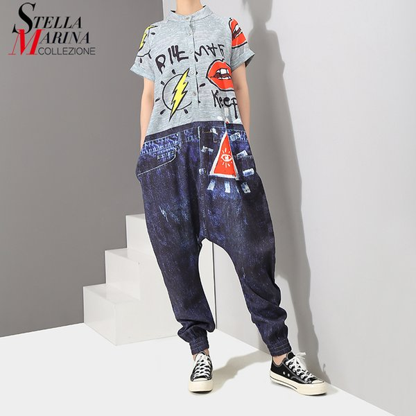 2019 Korean Style Short Sleeve Women Denim Harem Romper Jumpsuit Letter Pattern Printed Lady Big Size Hippie Loose Overalls 3576 Y19042003
