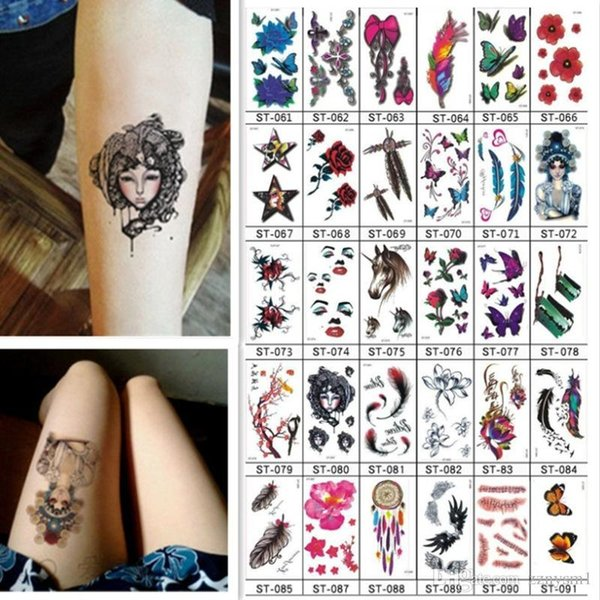 10 PCS Temporary Tattoo Sticker Men Women Lovely Butterfly Bird Flower Letters Body Art Waterproof Fake Tattoos