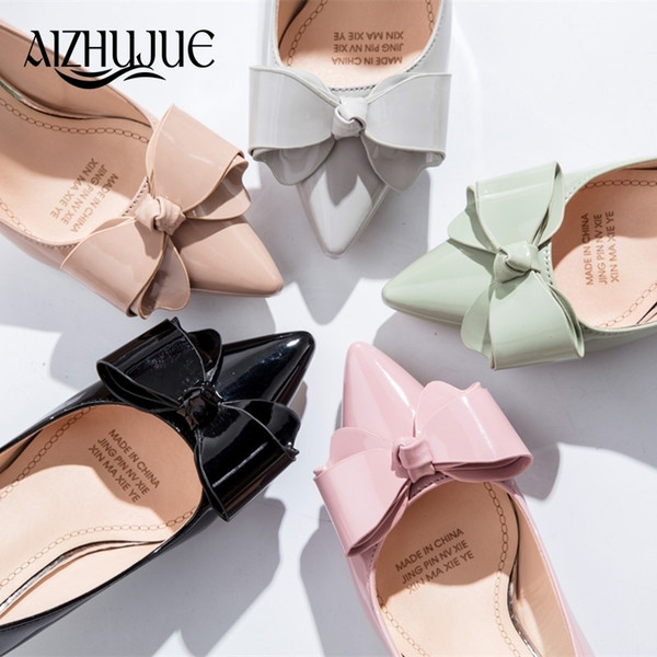 2019 Women Bow Tie Pumps Butterfly Pointed Toe OL Office Shoes Woman High Heels Black Pink Light Green Khaki Gray Dress Lady Shoes
