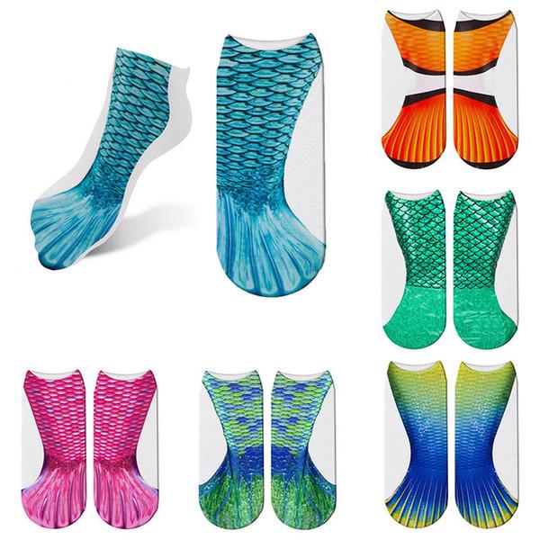 Kadın Cosplay Yaz Mermaid Çorap Komik Baskılı Mermaid Sığ Ağız Plaj Çorap Kadın 3D Baskılı Zarif Esneklik Çorap DH1168 T03