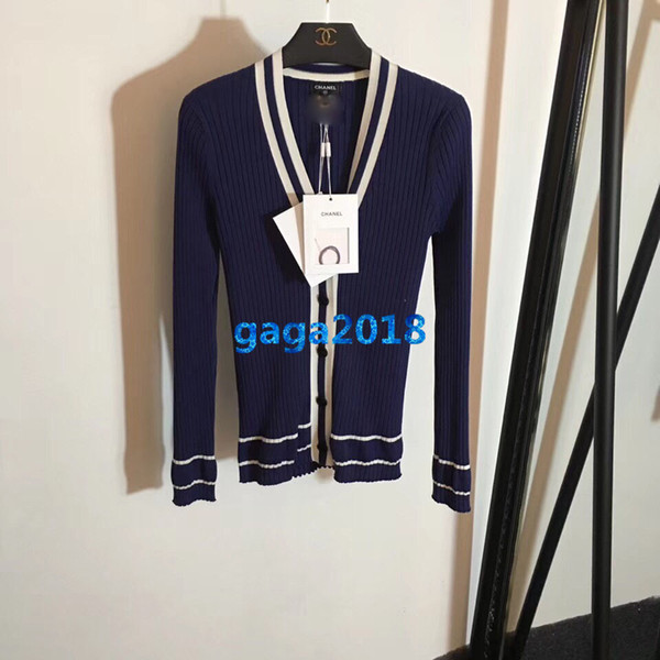 high end women girls sweater knit cardigan v neck stretch viscose long sleeves jacket blouse shirt top quality fashion design luxury top