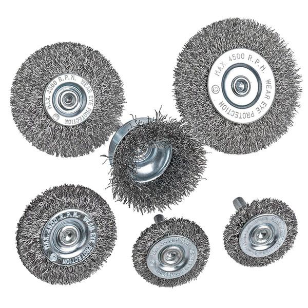 6шт проволока колеса чашки щетки набор 0.0118 в грубой гофрированной стали 1/4 дюйма круглый хвостовик для дрели