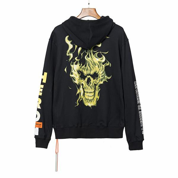 19ss Mens del progettista di marca Felpa fredda Fire Skull Stampa con cappuccio con coulisse manica lunga Pullover Fashion Street camicetta di lusso B101067L