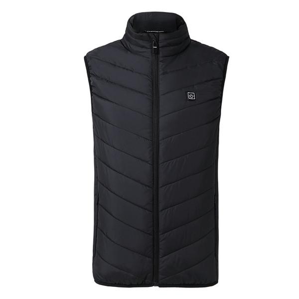 2018 New Men Women Electric Heated Vest Heating Waistcoat USB Thermal Warm Cloth Feather Hot Sale Winter Jacket Warm Slin Black
