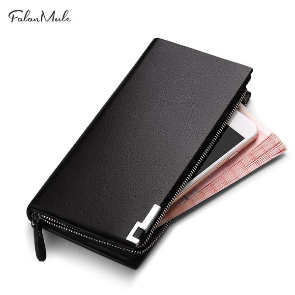 Men Wallet Leather Fashion Long Clutch Male Genuine Leather Card Holder Zipper Wrist Strap Purse Coin Pocket 1225-65