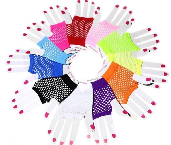 Punk gotico caramella delle donne estate colori guanti netti senza dita Lady Disco Dance Costume Lace senza dita Mesh Gloves a rete