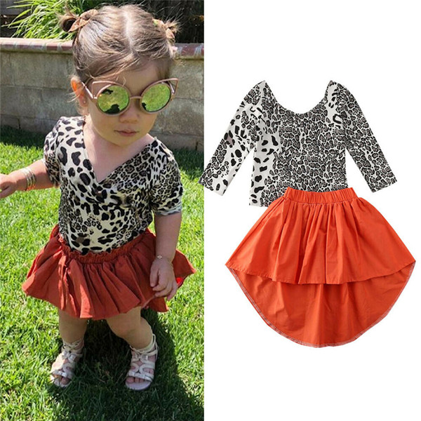 2020 caliente más nueva del niño para niños de la niña de la ropa superior del leopardo de manga larga camiseta + irregular Faldas largas vestido del resorte del otoño Trajes
