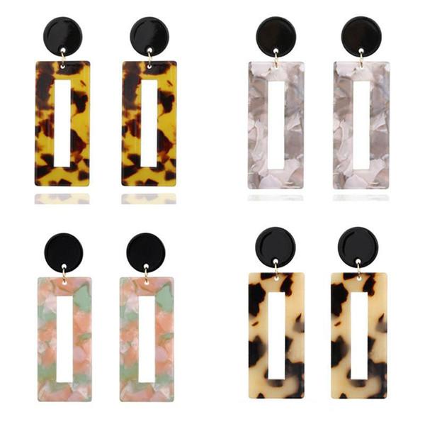 Женщины Boho Leopard Зерно Геометрическая Падение Мотаться Крюк Акриловая Смола Уха Стад Серьги Ювелирные Изделия