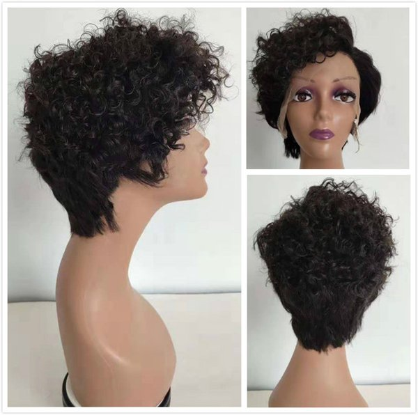 Pixie Cut Wig Curly Indian Short Lace Front