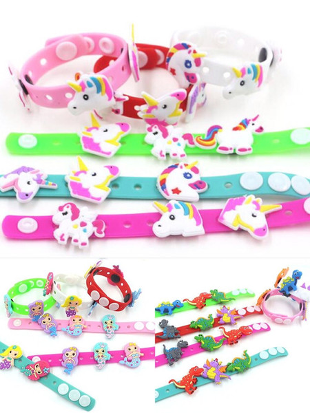 best selling 2019 Unicorn Dinosaur Mermaid Bracelet Lovely Cartoon Wristband Fashion Kid Girls Gift Soft PVC Rubber Accessory Charming novelty Toy
