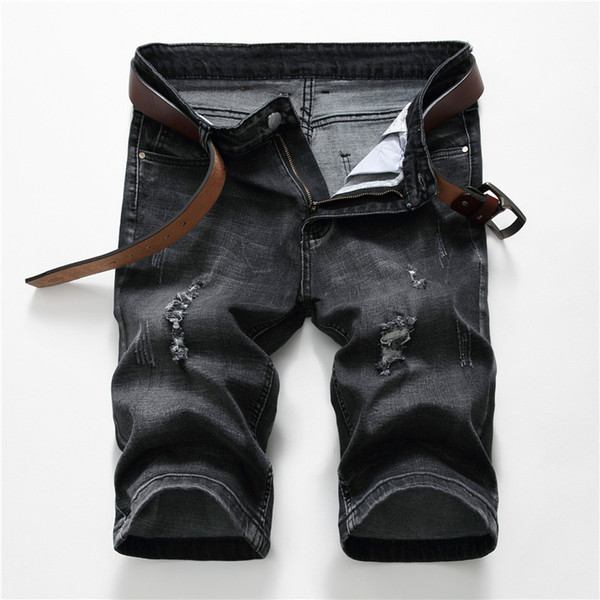 New Black Rasgado Shorts Jeans Stretch Jeans dos homens Capri Coreano Skinny Men Straight Fit Bermuda Shorts Jeans Respirável Masculino