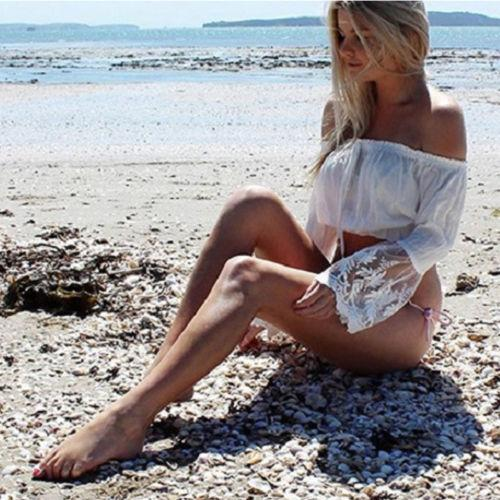 2019 Fashion Women Ladies Sexy Lace Long Sleeve Loose Blouse Summer Casual Short Solid White Shirt Slash Neck Tops