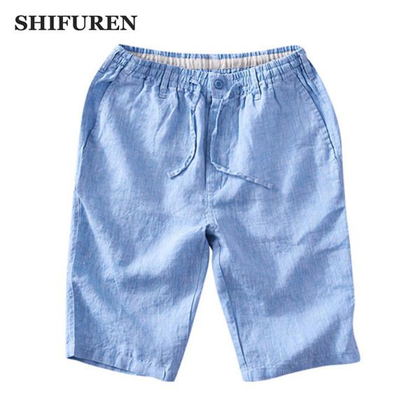 SHIFUREN Eté Nouveaux Hommes Shorts De Lin Cordon Cordon Élastique Taille Respirant Casual Mâle Beach Shorts Genou Longueur 7 Couleurs