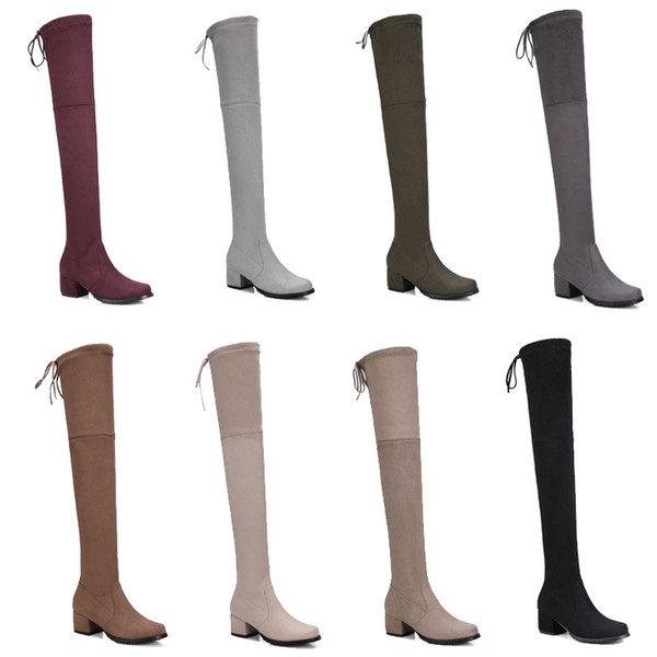Knee boots elastic boots women's matte leather fashion boots moccasins 40 41 42 43 large size women's shoes custom
