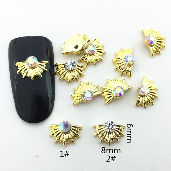10pcs/lot japan korea 6x8mm gold sector with rhinestone metal alloy nail art decorations ptherapy diy for manicure