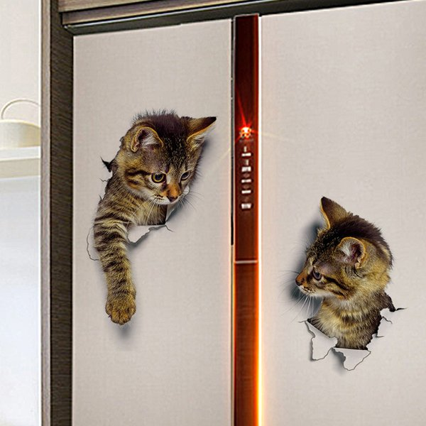 Gato llegar a Pared Arte Pegatina Calcomanía-Ideal Para Puertas-las puertas del refrigerador-diversión!