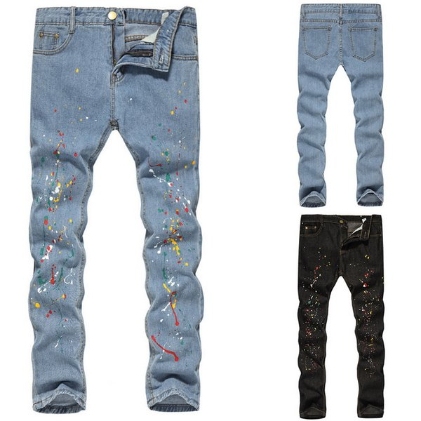 WENYUJH Trendy Slim Fit Stretch Men's Oil Paint Casual Trousers Ink Painted Graffiti Pencil Pants For Men Hip Hop Jeans Fashion