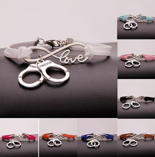 Infinity Love Handcuffs Bracelet Tibetan Silver Bangle Fashion Art Bangle PU Mixed Leather Bracelet Charm Jewelry Handcraft Accessorie