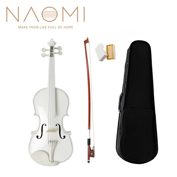 top popular NAOMI Acoustic Violin 4 4 Full Size Violin Fiddle White Violin SET For Kids Beginners And Students W Case Row Rosin New 2021
