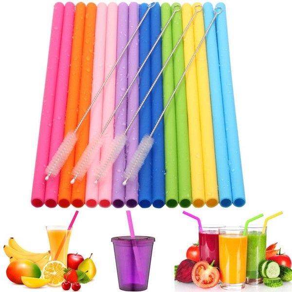 Reusable Silicone Straw Set Straight 16Pcs/set Bend Silicone Drinking Straw With Cleaning Brush Party Home Drinking Tools TTA725