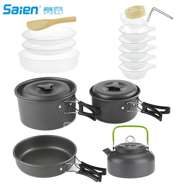 7be7bd593c8f Camping Cookware Mess Kit With Kettle, Aluminum Lightweight Folding Camping  Pots And Pans Set For 4 Person, FDA Approved Camping Cooker Camping Gear ...