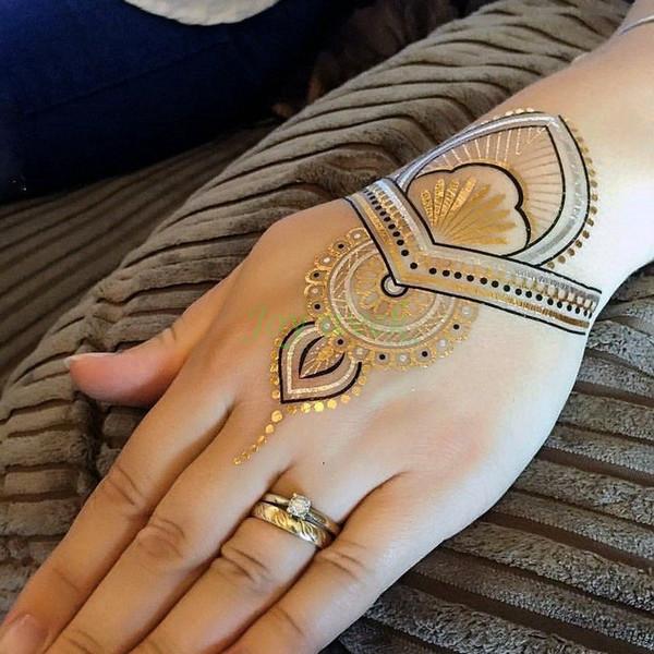 Tatuagens Femininas Na Virilha Attoo Body Art Temporary Tattoos Waterproof  Tatuagem Temporária Etiqueta Falsa Braceletes Metálicos Cadeia Colar