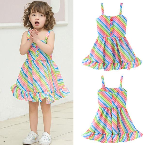 Baby Regenbogen Streifen Dot Kleid Mode Outdoor Kinder Kleidung Mädchen Nette Party Rock Sommer Sling Strand Kleider TTA688