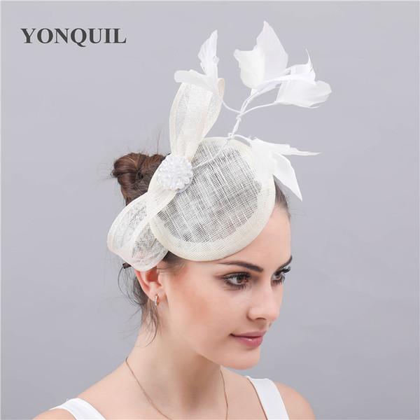 Ivory fascinator accessoire dans les femmes fedora sinamay chapeau dames élégantes vintage mariage occasion course chapeaux clips bateau gratuit