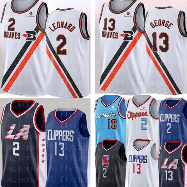2 Kawhi # Leonard Jersey NCAA Üniversitesi Paul 13 George forması Mens 2019 2020 Yeni Basketbol Formalar Boyut S-XXL