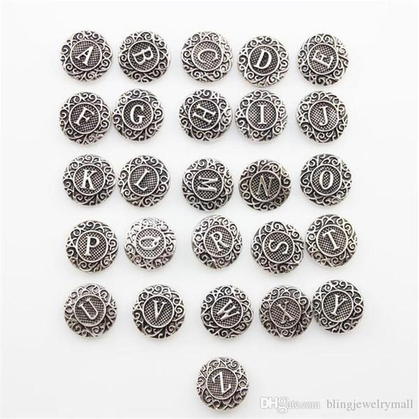 Snap Button Jewelry Antique Silver Button Snap Fit Snaps Button Bracelet Initial A-Z Alphabet Letter 18mm Mixture Wholesale ZA0026