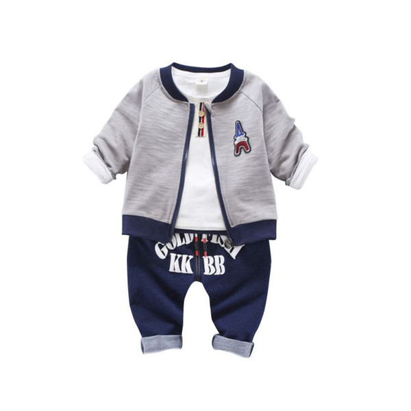Boys clothes set autumn new boy round neck zipper jacket + T-shirt + Letter Printed jeans pants three-piece baby suit
