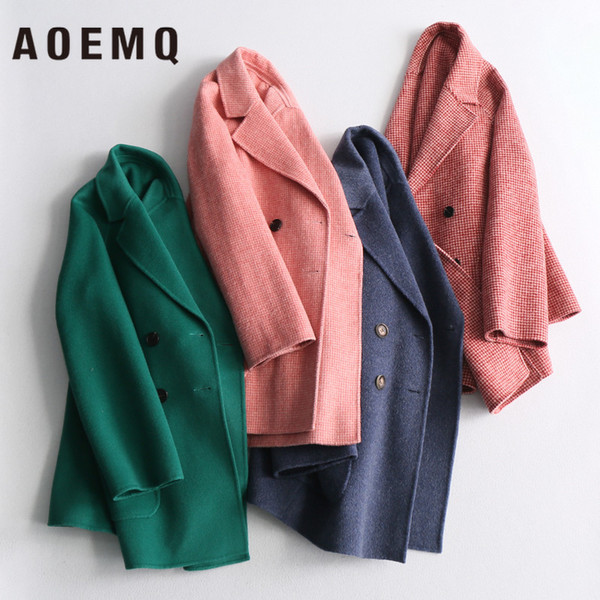 AOEMQ Fashion Joker Double-sided Wool Solid Color Double-breasted Thousand Birds Small Plaid Straight Short Coat