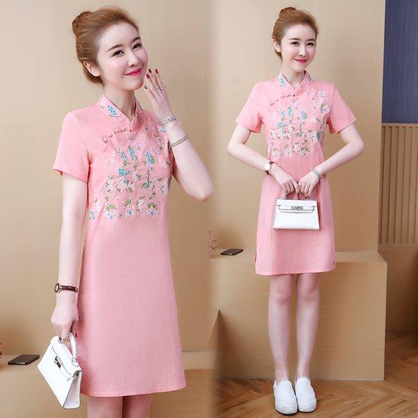 2019 vendita calda abito cinese cheongsam qipao tradizionale cinese da donna di alta qualità qipao stampa floreale in cotone e lino