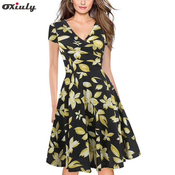 Oxiuly Rockabilly Dress Summer 50s Retro Vintage Dresses Women Clothing Pin Up Flower Striped A-line Dress Y190410