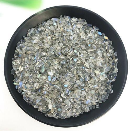 200g Beautiful3-5mm Natural Grey Moonstone Crystal Gravel Chips Blue Flashing Stone Decor