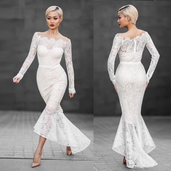 Sexy High Low Ivory Mermaid Prom Dresses Full Lace Off Shoulder Illusion Long Sleeves Cheap Trumpet Formal Evening Gowns For Women Girls